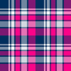 Pink, blue and white plaid seamless pattern. Vector background