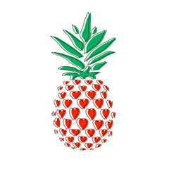 Pineapple in hearts. Line icon pineapple with leaves.