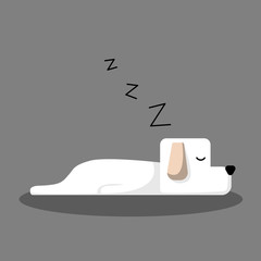 White Sleeping Dog Cartoon Vector, for design, banner, logo