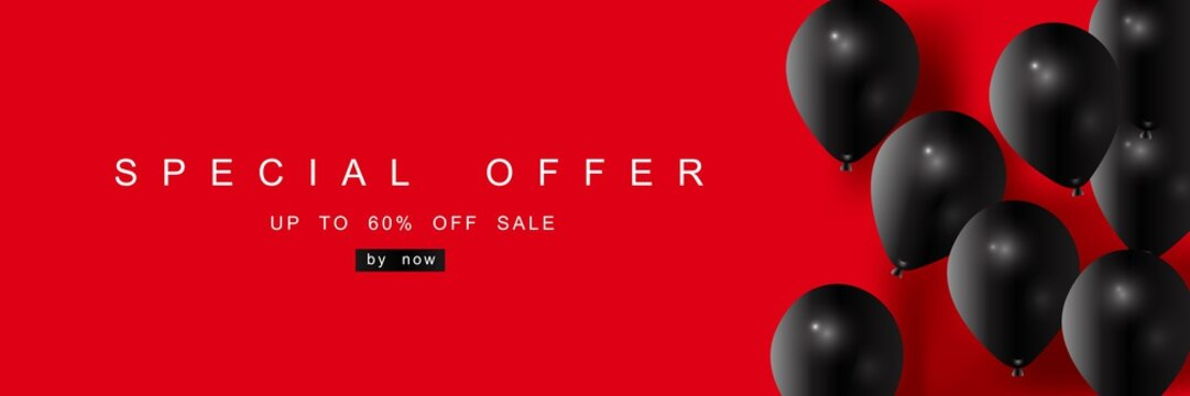 Big Sale, discount coupon with realistic black balloons, creative template, seasonal discounts, buy now