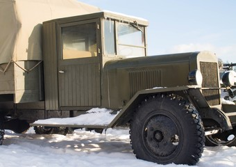 vintage old truck on snow in winter