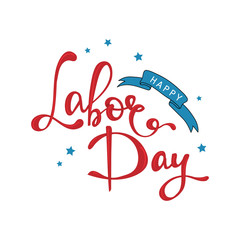 Happy Labor Day Text, Vector illustration