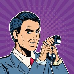 Businessman angry pop art cartoon vector illustration graphic design