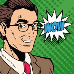Businessman saying wow pop art cartoon vector illustration graphic design