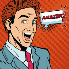Businessman saying amazing pop art cartoon vector illustration graphic design