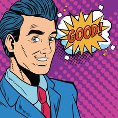 Businessman pop art cartoon vector illustration graphic design
