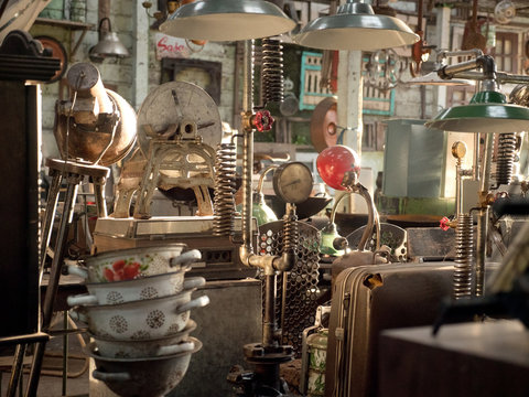 Antique street shop with old, vintage items in Bali.
