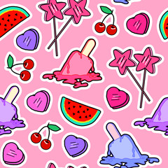 Seamless pattern with patches: star-shaped lollipops, cherries, heart-shaped caramel sweets and melting ice cream popsicles. Comic 80s-90s style.