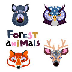 Collection of forest animals. Animal portrait set with flat design.