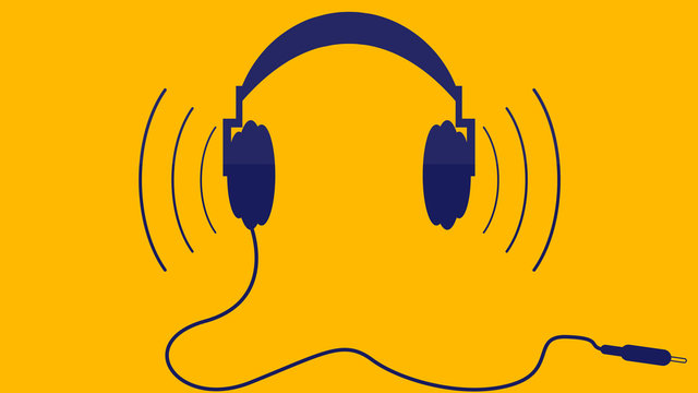 headphones in flat design