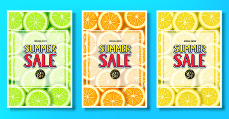 Summer Sale Fruity Posters with Lime, Orange and Lemon Fruits Background Vector Illustration.