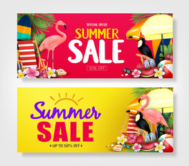 Special Offer Summer Sale Banners with Palm Tree Leaves, Flowers, Watermelon, Sunglasses and Slippers in Red and Yellow Patterned Background Vector Illustration. For Promotional Purposes