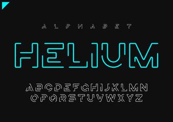 Helium vector minimalist futuristic linear alphabet, typeface, l