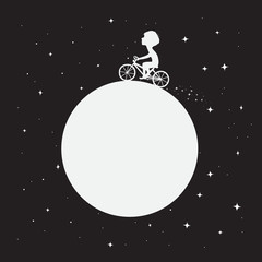Little boy rides around the Moon on bicycle.Space childish vector illustration.Prints design