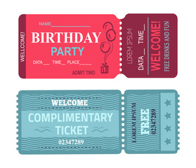 Birthday Party Welcome Set Vector Illustration