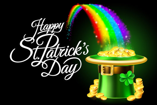 Happy St Patricks Day Leprechaun Hat Rainbow Sign