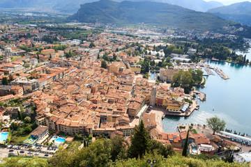 Riva del Garda town aerial view panorama at Lake Garda, Italy