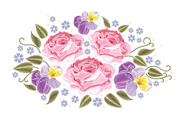 Flowers roses and pansies isolated on white background. Vector illustration. Embroidery element for patches, badges, stickers, greeting cards, patterns, t-shirts.