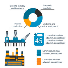 Oil gas industry vector manufacturing gas infographic world oil production distribution petroleum extraction illustration