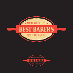 The bakery logo. Bakery emblems. Rolling-pin, dough and letters.