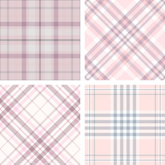 Set of four seamless tartan plaid patterns in shades of pink. Traditional checkered textures for digital textile printing.