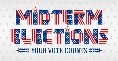 Midterm Elections invitation banner. Text made of folded ribbons with USA flag stars and stripes. Vector illustration.