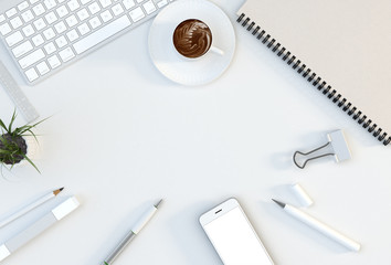 Office workspace with computer keyboard, stationery set, cup of coffee and smartphone on desk. Top view. Flat lay. 3D illustration