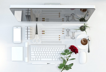 office workspace with computer, stationery set and red rose on white color background. Top view. Flat lay. 3D illustration