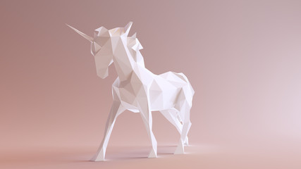 White Unicorn made out of triangles 3d illustration