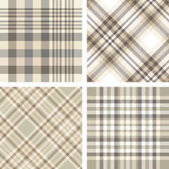 Set of four seamless tartan plaid patterns in shades of beige, tan, taupe and brown. Traditional checkered fabric texture for digital textile printing.