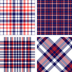 Set of four seamless tartan plaid patterns in red, white and blue. Traditional checkered fabric textures for digital textile printing.