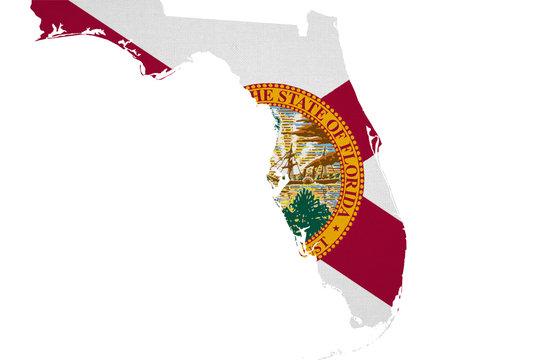 Florida flag USA with map
