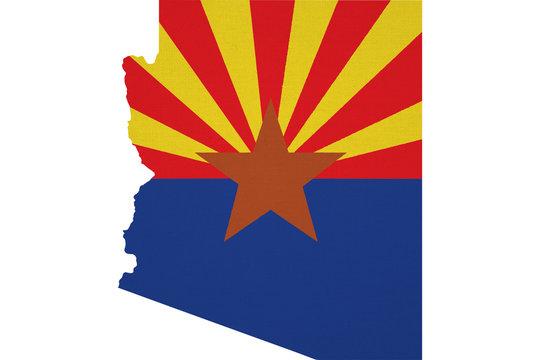 Arizona flag USA with map