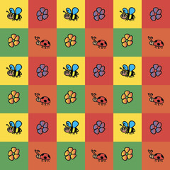 Background of insects. Bees ladybugs flowers collection pattern on colorful square background.