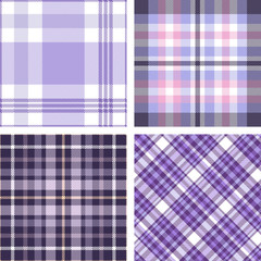Set of four seamless tartan plaid patterns in shades of purple, lavender and violet. Traditional checkered fabric textures for digital textile printing.