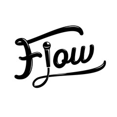 flow hand drawing design with microphone