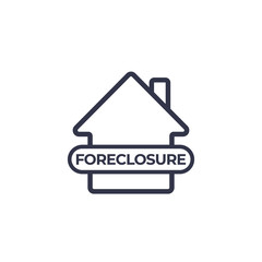 foreclosure icon on white, vector