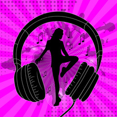 silhouette of a dancing girl and headphones