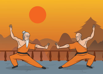Two monks practicing kung fu or wushu, Shaolin monastery. Chinese martial art. Vector illustration.