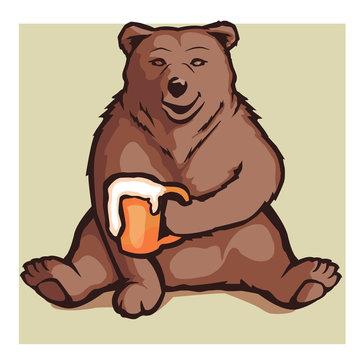 cartoon bear holding a beer
