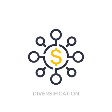 Financial diversification, diversified investment icon