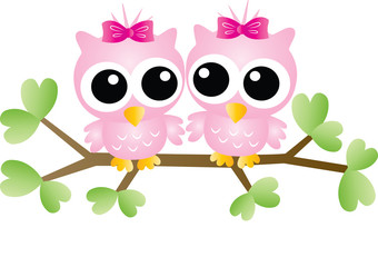 two adorable pink owls sitting on a branch