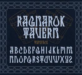"""""""Ragnarok tavern"""" - typeface design. Medieval style font with vintage beer mugs illustration."""