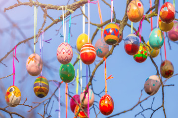 Painted Easter eggs on a tree branch outdoors