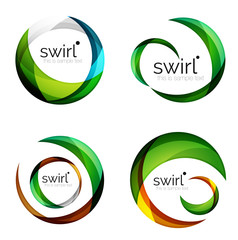 Vector swirl set, geometric business icons or web banners templates with sample slogan. Created with color overlapping transparent shapes