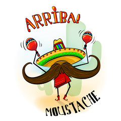 Arriba mustache musician mascot. Vector illustration of cartoon mustache character in sombrero, poncho red boots and maracas. Good for posters, t-shirt prints, stickers, invitations.