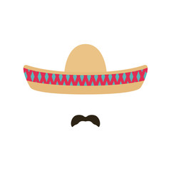 Mexican man with sombrero and mustache. Sombrero with colorful geometric ornament. Vector illustration.