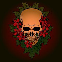 Tattoo design skull in flower bouquet