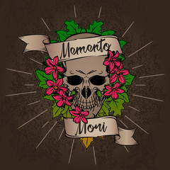 "Skull in flower bouquet with ribbon on grunge background and ""Memento mori"" quote. Tattoo design."
