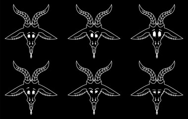 The sign of Baphomet emotion smile set.